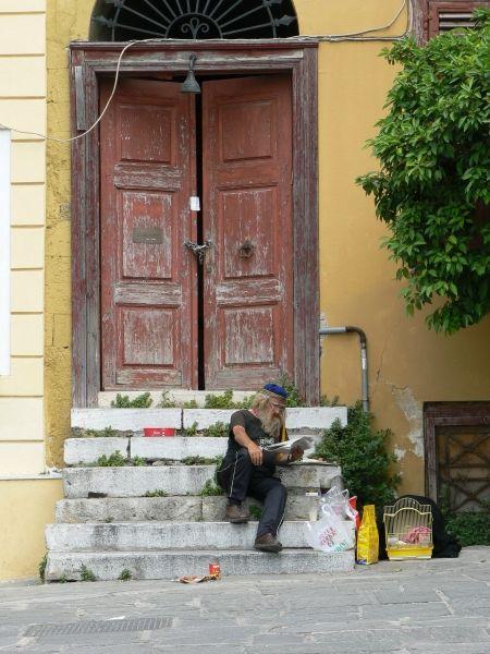 Handsome Greek man relaxing