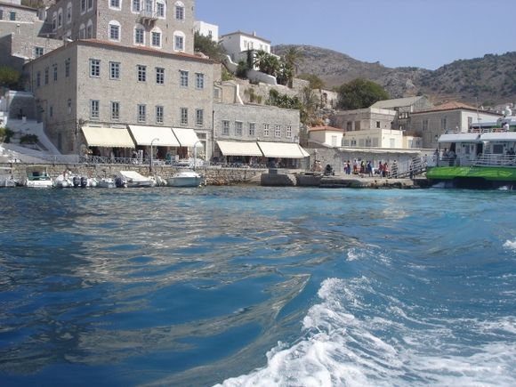 Leaving Hydra by boat
