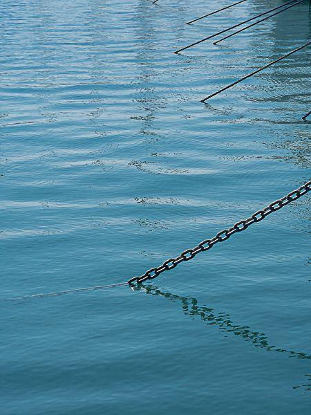 Anchor chains at marina.
