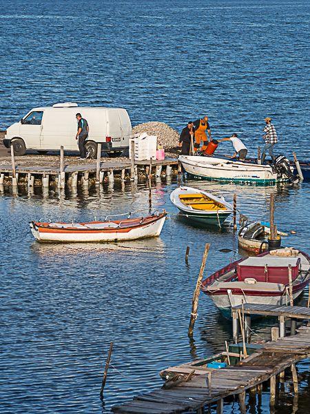 Fishermen loading boat Mesolongi.