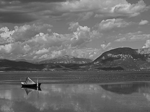 Boat anchored on sea lake at Mesolongi