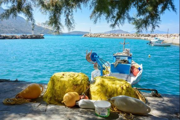This is our view when we have lunch at the tavern under the trees in Agios Antonios harbor