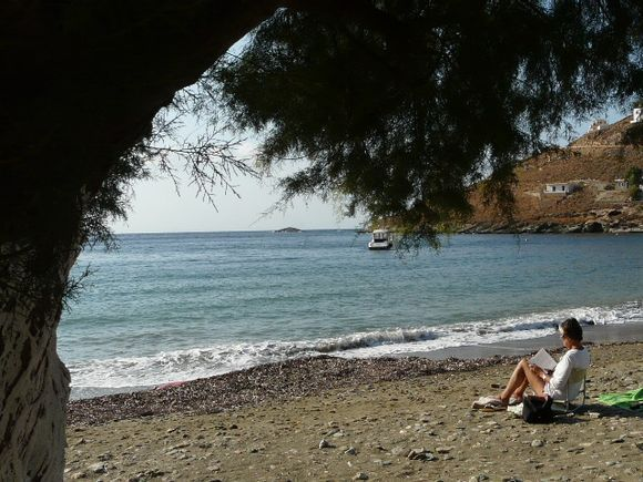 Kythnos Aghios Dimitriou Reading under the tree
