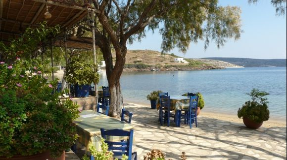 The pirate taverna on Marathi islet located at the east of Patmos island, Dodecanissos