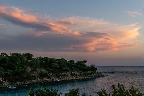 Beautiful sky over the Alyki peninsula on the south-east coast of the island of Thassos