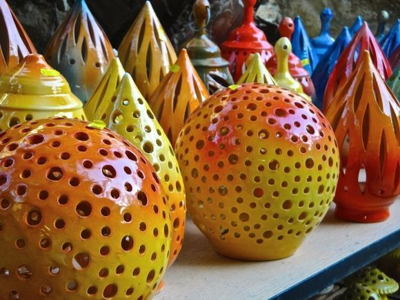 Colourful potteries
