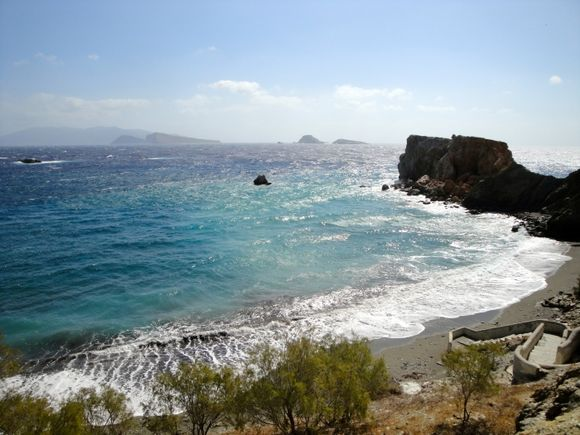 Vardia beach in a windy day