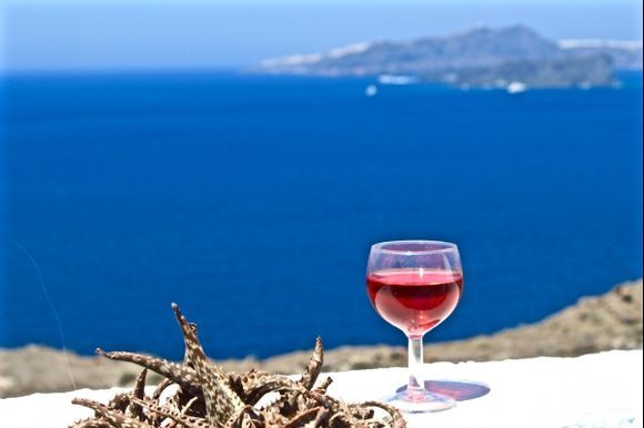 A glass of wine with a view