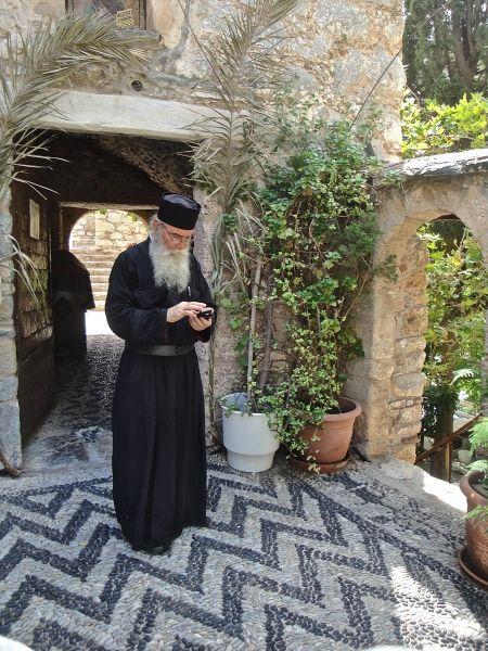 Pope Manolis in Monastery of Agios Panteleimon