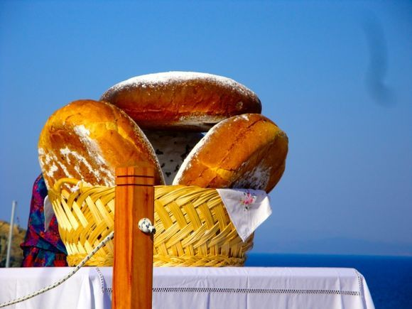 Bread on the altar of Moni Chrissopigi, waiting for the icon of Panagia
