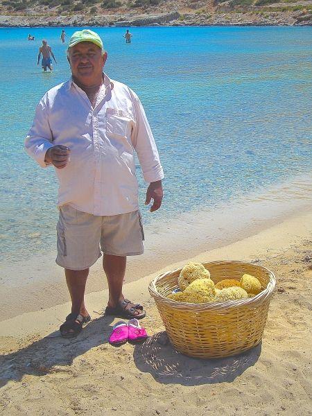 Yannis, who sells Kalymnian sponges at Platis Gialos