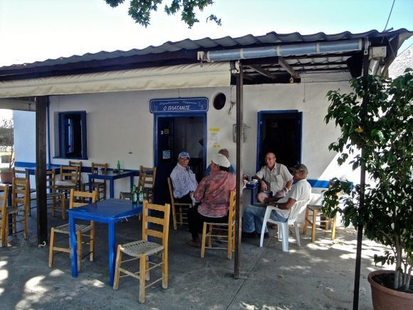 Coffee time in Platanos, small village near Vathy