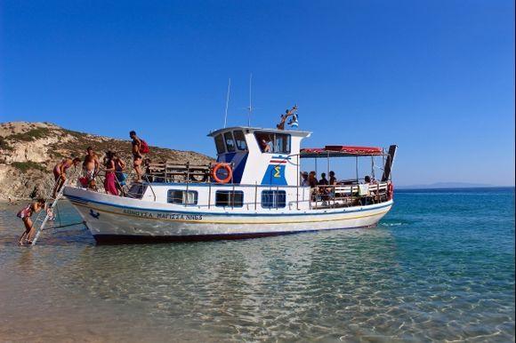 The taxi-boat Maghissa at Livadi