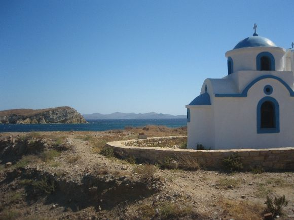 Church near the beach of Torkoumima, with Leros in the background