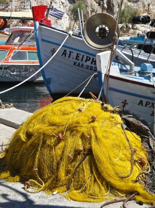 Yellow net in Vathy harbour