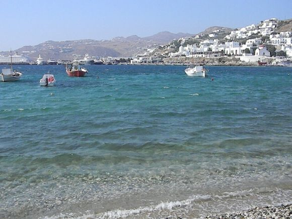 View of Beach along Harbour Mykonos Town