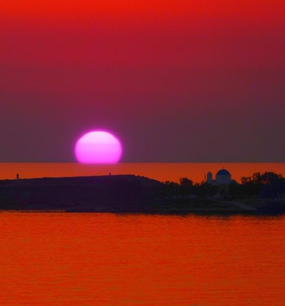 Parikia's pink sunset