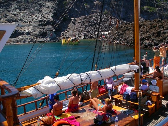 Volcanic Santorini - Hot springs at Paleo Kameni