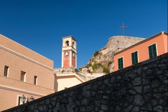 Bell tower on the church in an old fortress, Corfu town