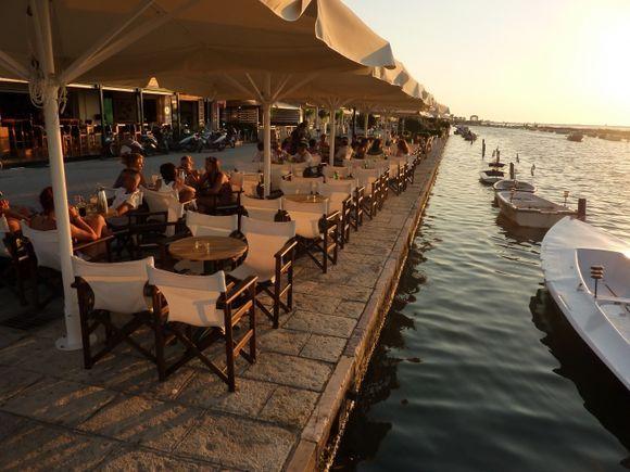 Restaurant by sunset.