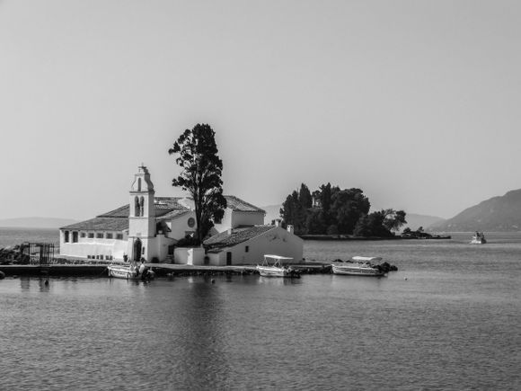 The Church of Panagia Vlacherna, Pontikonisi Island and the Church of Pantokrator