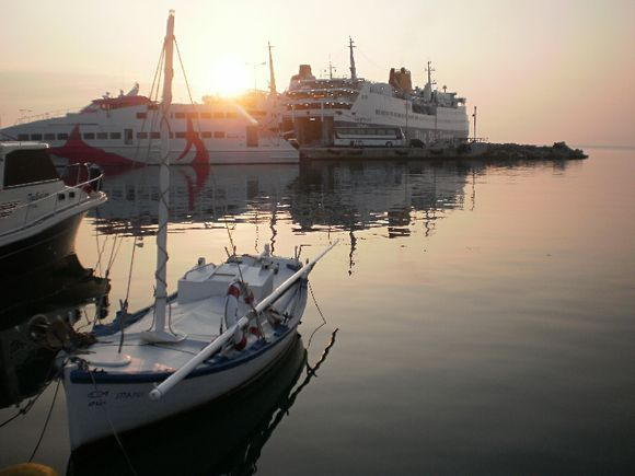 sunrise at Rafina\'s port waiting the sailing for Paros