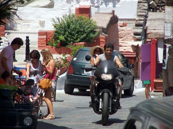 This is what passes for heavy\traffic in Ioulis.  Shot from a distance while sitting on Rolando\'s deck.