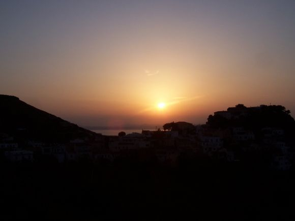 Sunset shot from Maria and Tassos\' deck in Ioulis