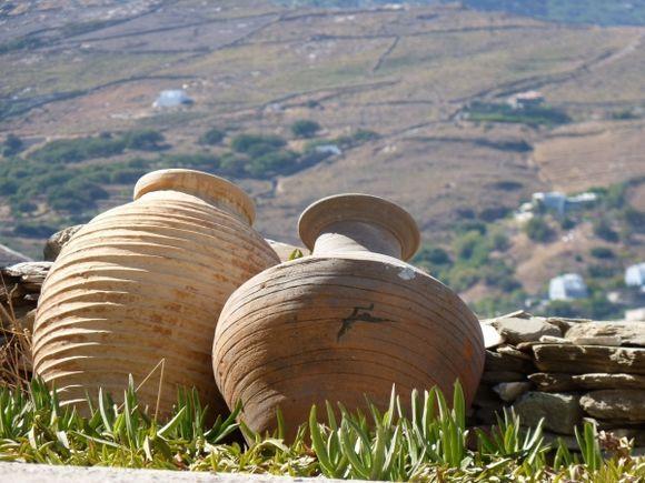 Pots in Kato Kastro, Chora, Andros