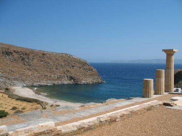 Ancient greek columns on the sea at Karthea
