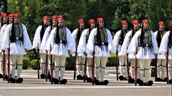 The traditional Greek guards.