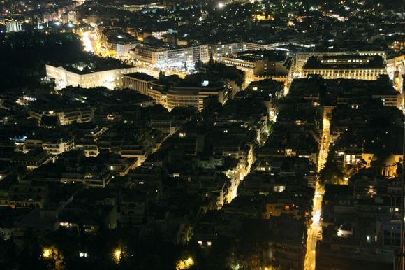 Syntagma seen from Lycabettus Hill at night