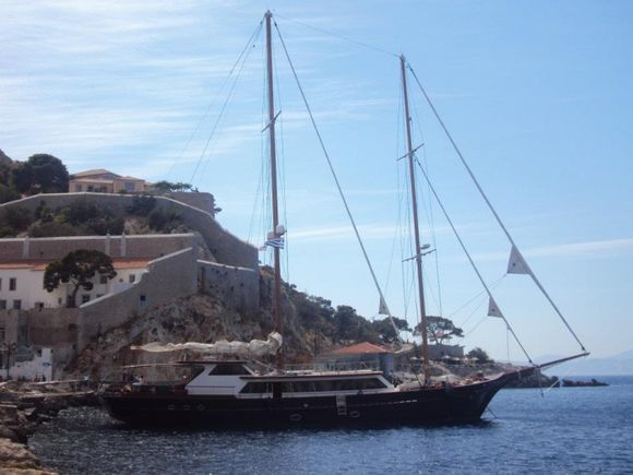 Beautiful sailboats in the port of Hydra.