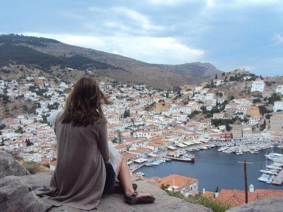 Myself sitting high on a hill top of Hydra, Greece