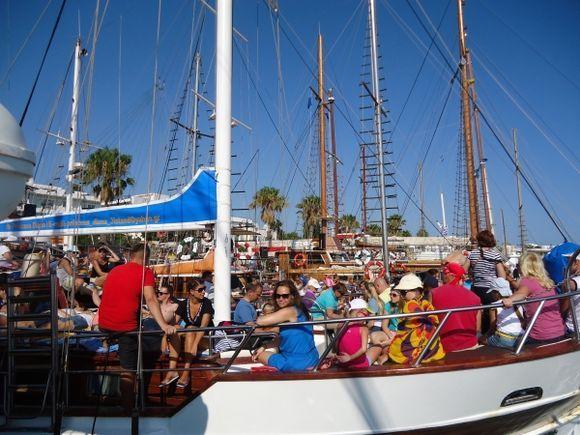 Crowded boat trip