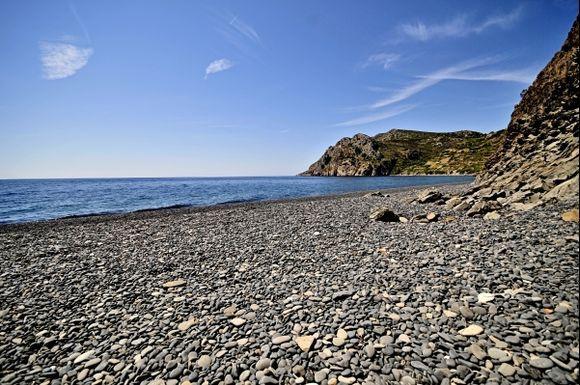 admire the black vulcanic stones