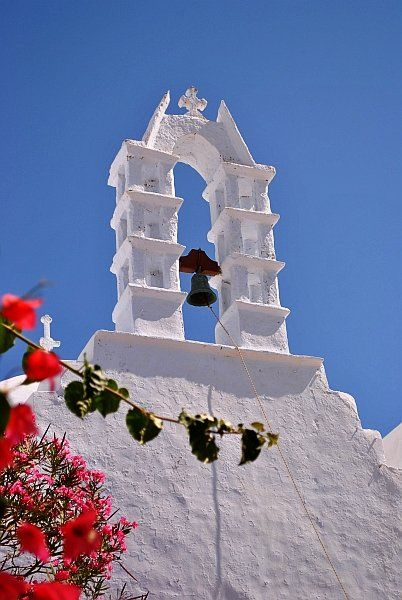 Flowers, church, blue sky