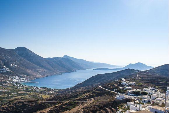 View of Aegiali bay and Nikouria island