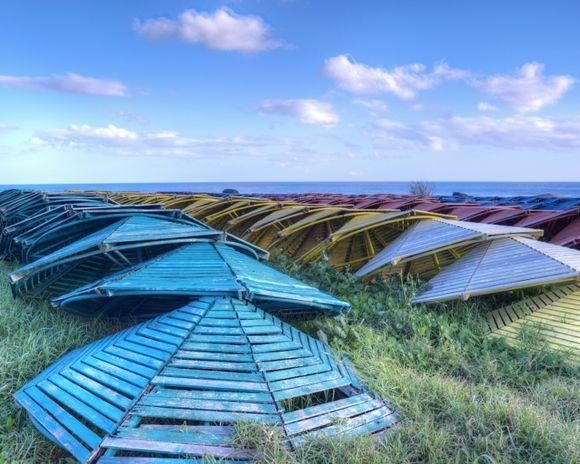 Sleeping Beach Umbrellas, Kolymbia, Rhodes