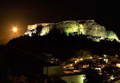 Moon rise over the Lindos Acropolis, Rhodes.