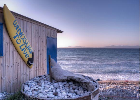 Surf Shack, Ixia Beach, Rhodes, Turkey in the Background