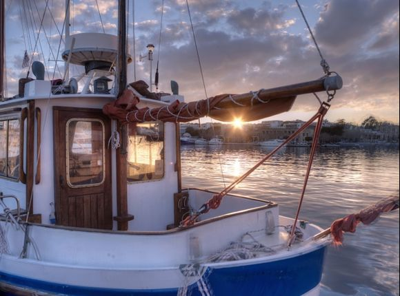 Fishing Boats on Mandraki Harbour at Sunset
