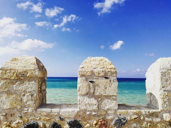 Three shades of blue on the sea of Heraklion