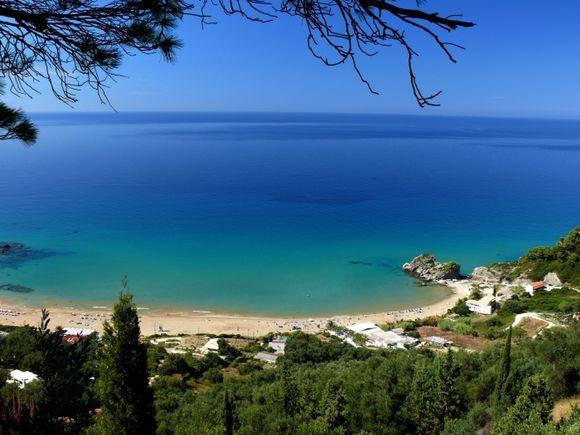 cristal clear sea on Pelekas beach, Corfu