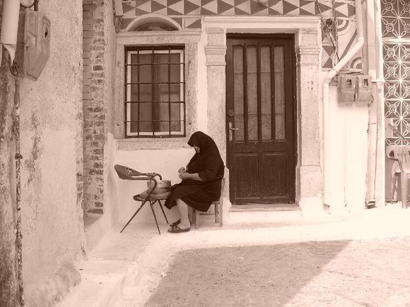 old woman in Pyrgi
