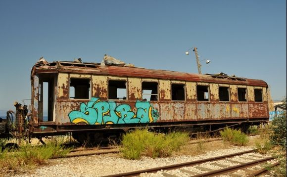 old train at the closed Railway station