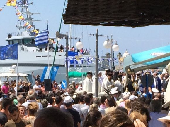 Tinos, celebration of the Icon of The Virgin Mary at the main port