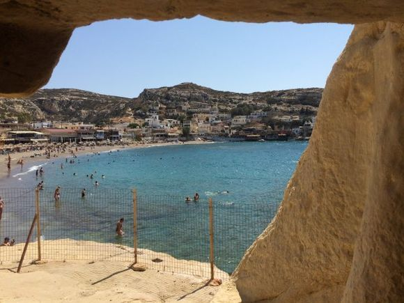 View of Matala Beach from inside one of the many caves