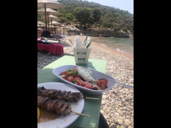 Greek food basics at Vrellos Beach