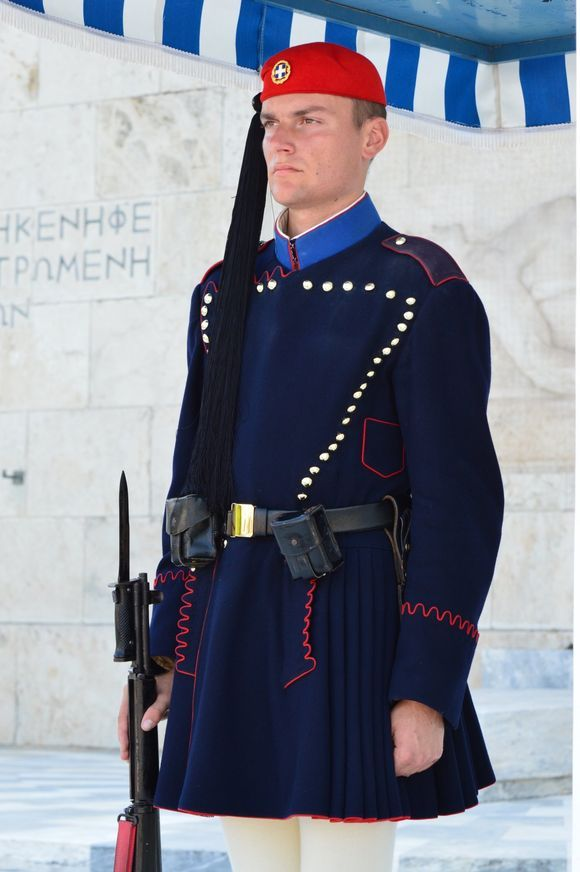 An Evzone in the winter blue clothing